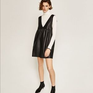 Zara Faux Leather Pinafore Dress